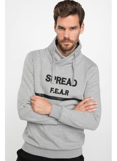 DeFacto Degaje Yaka Baskılı Sweatshirt Gri